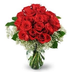 25 adet kırmızı gül cam vazoda  Sivas çiçek gönderme