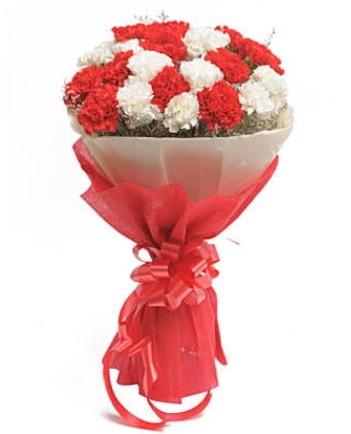 21 adet kırmızı beyaz karanfil buketi  Sivas çiçek yolla