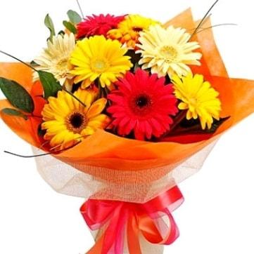 9 adet karışık gerbera buketi  Sivas çiçek gönderme