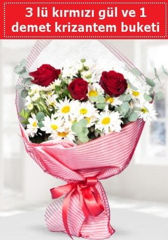 3 adet kırmızı gül ve krizantem buketi  Sivas online çiçekçi , çiçek siparişi