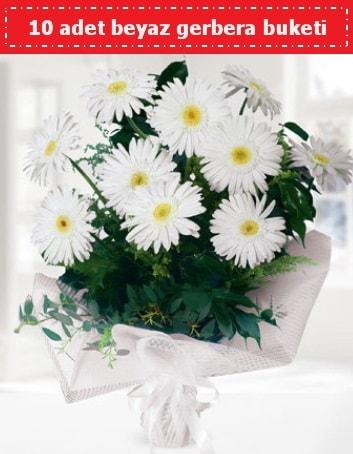10 Adet beyaz gerbera buketi  Sivas çiçek gönderme