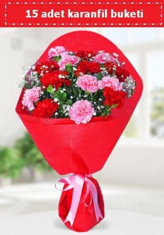 15 adet karanfilden hazırlanmış buket  Sivas çiçek siparişi vermek