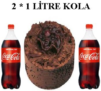 6 ile 9 kişilik Çikolatalı pasta 2 * 1 litre kola